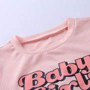 Baby Girl Graphic Cotton Short Sleeve Crop Top