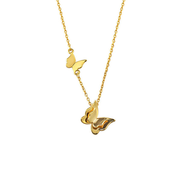 Double Butterfly Pendant With Gold  Chain Necklace