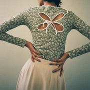 Sweet Round Floral Bowknot Hollow Lace  Slim Long-sleeved Shirt