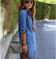 women's long-sleeved Oversize denim shirt dress