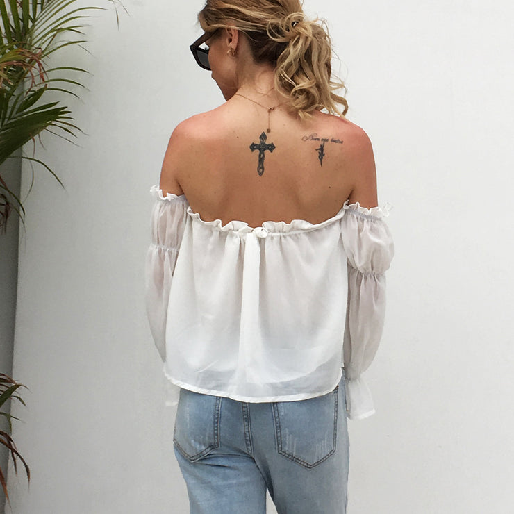 One-shoulder ruffled beach blouse