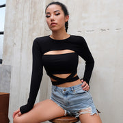 Hollowed-out long-sleeved crop top