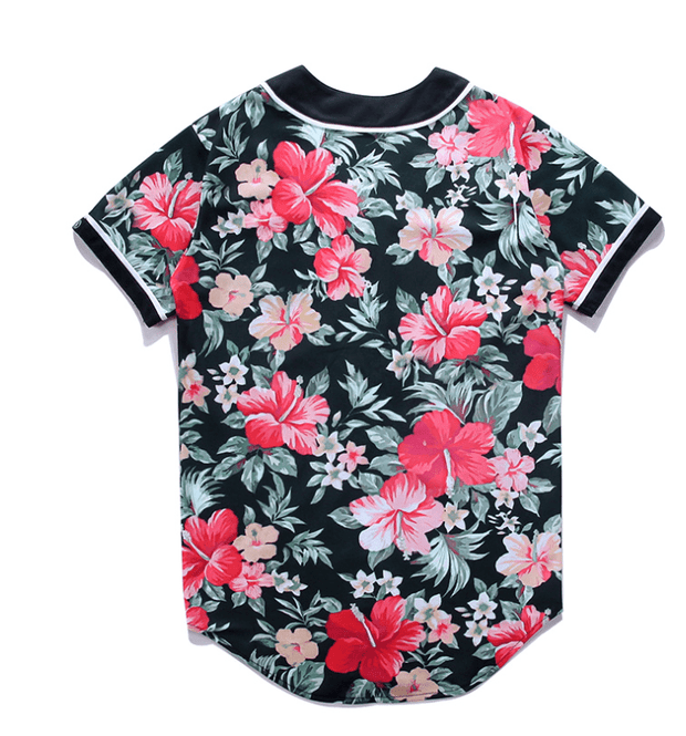 Men's Floral Print Baseball Shirt