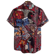 Men's ethnic linen print short-sleeved shirt