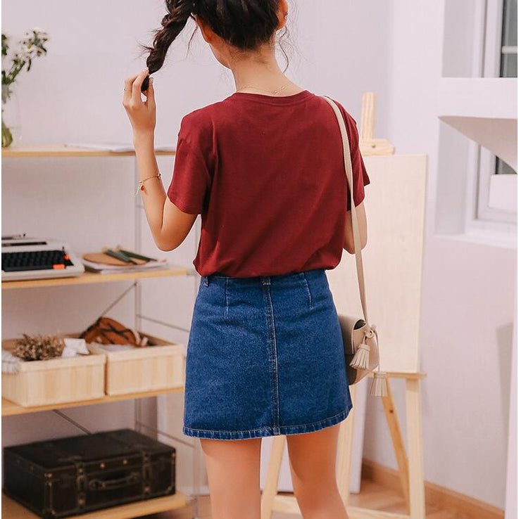Women's  High Waist A-line Denim  Mini Skirts