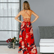 Red Floral  bohemian Print backless dress