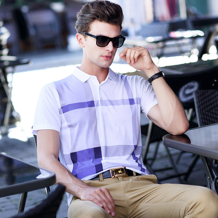 Purple Short-sleeved  Polo shirt.