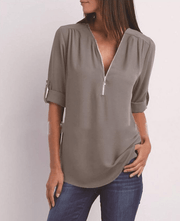 V-neck zipper  sleeve