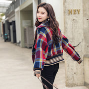 Drop Shoulder Plaid jacket wool coat