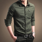 Men's solid green business print.