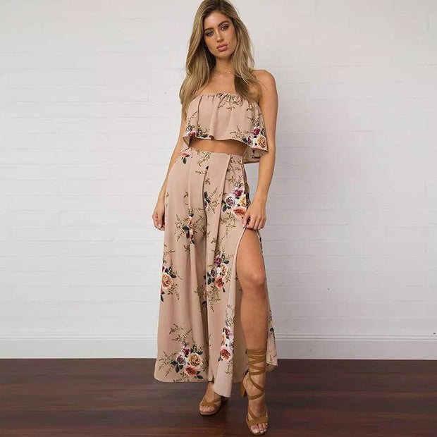 American chiffon print split and wide leg pants casual pants