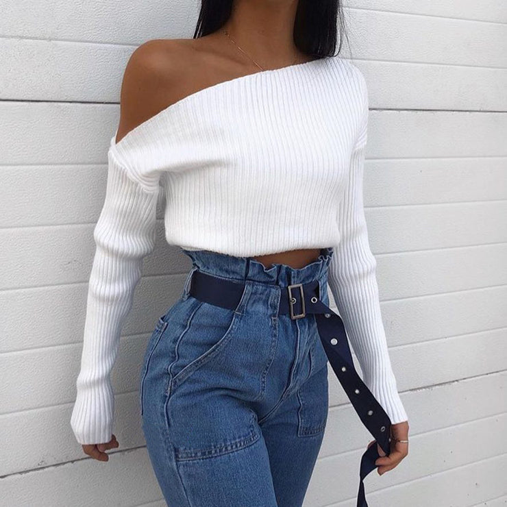 Ladies white slanted shoulder  crop top