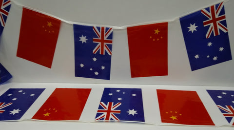 Australia and China Alternating String Country Flags