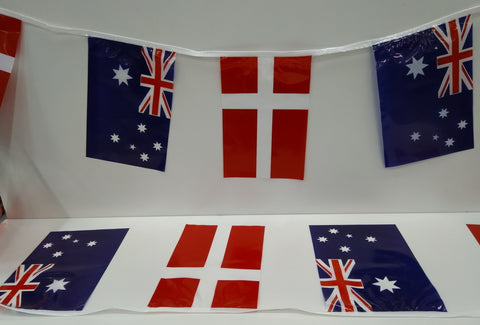 Australia and Denmark Alternating String Country Flags