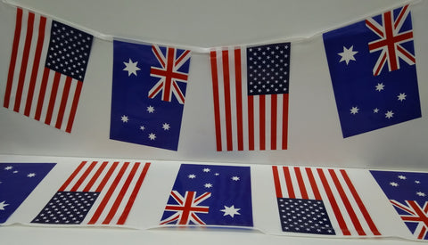 Australia and USA Alternating String Country Flags