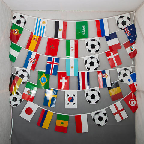 2018 World Cup 15m string flag bunting with all competing country flags