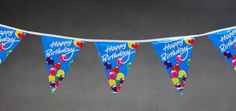 Happy Birthday String Flags Blue