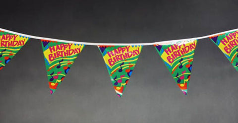 Happy Birthday String Flags Green