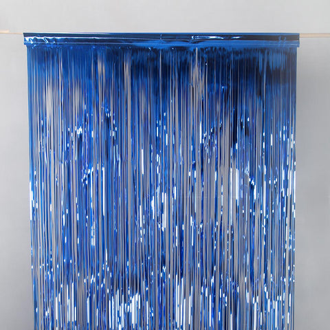 Blue metallic drap door curtain