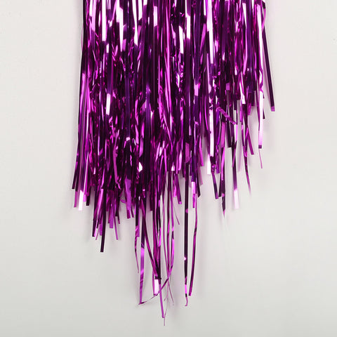 cerise fringe tinsel 50cm drop 2.5m wide