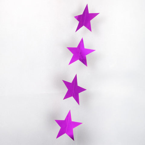Cerise Pink Metallic String Star Garland 2.7m