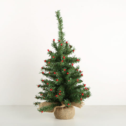 Burlap Christmas Tree with Berries 35cm