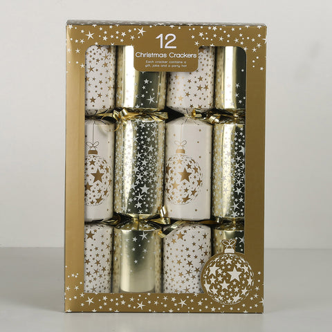 Gold Christmas Crackers (Bon Bons) 10pk front