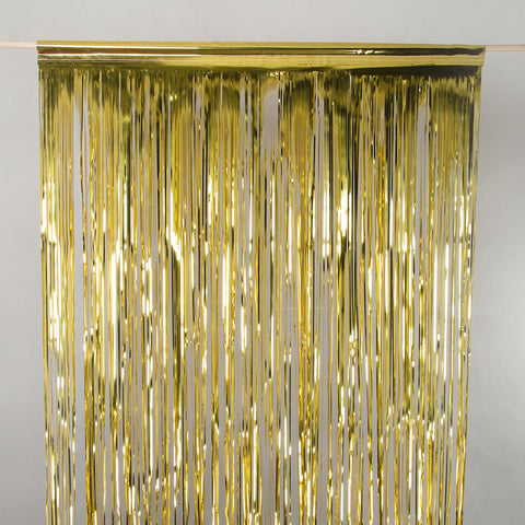 gold tinsel curtain 3m drop 1m wide