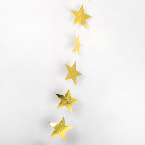Gold Metallic String Star Garland 2.7m