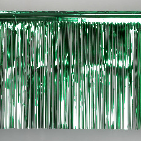 green fringe tinsel 50cm drop 2.5m wide