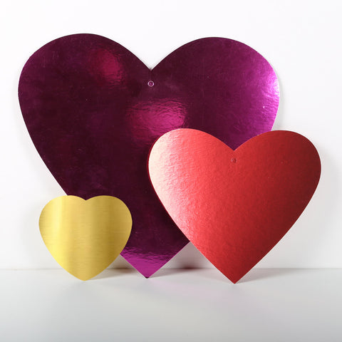 12 Pack 10cm Foilboard Heart Purple