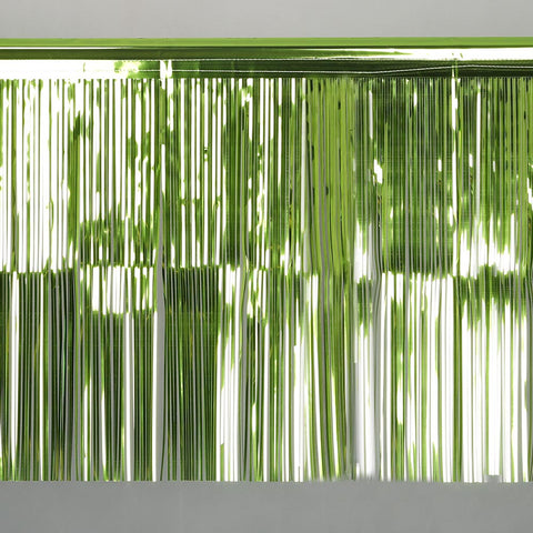lime fringe tinsel 50cm drop 2.5m wide