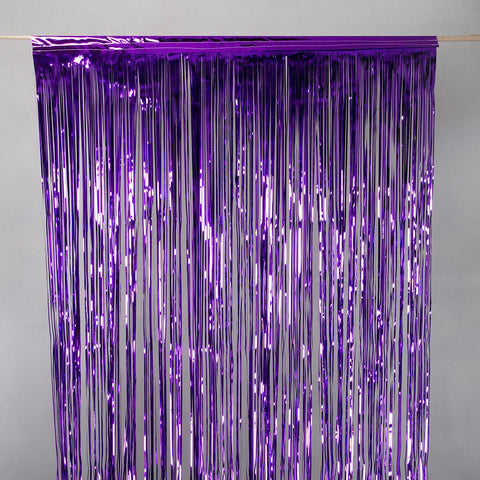 purple tinsel curtain 2.5m drop 50cm wide