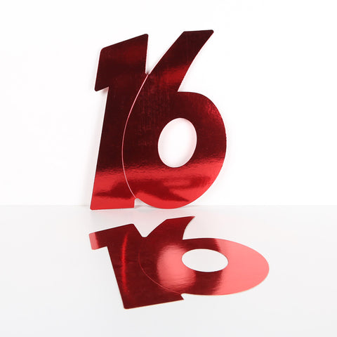 28cm Foilboard Number 16 Red