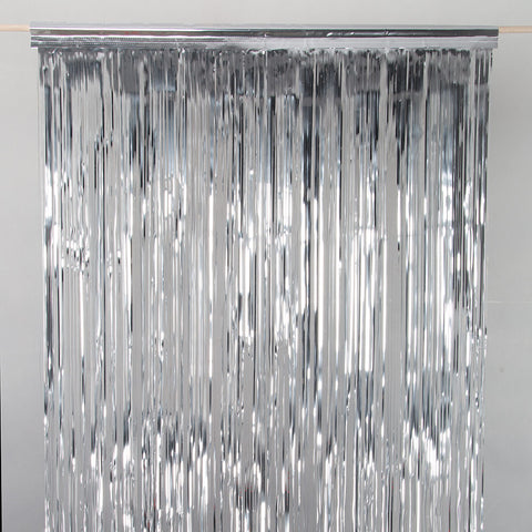 Silver metallic drap door curtain