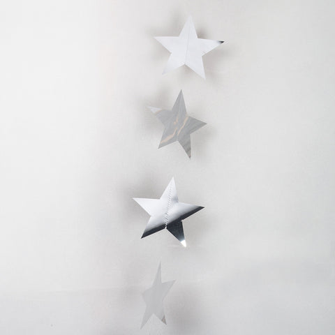 Silver Metallic String Star Garland 2.7m