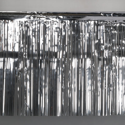 silver fringe tinsel 50cm drop 2.5m wide