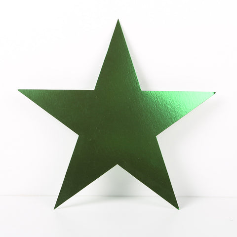 12 Pack 10cm Foilboard Star Green