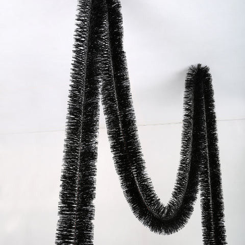 Black Deluxe Tinsel Garland - 150mm x 5.5m