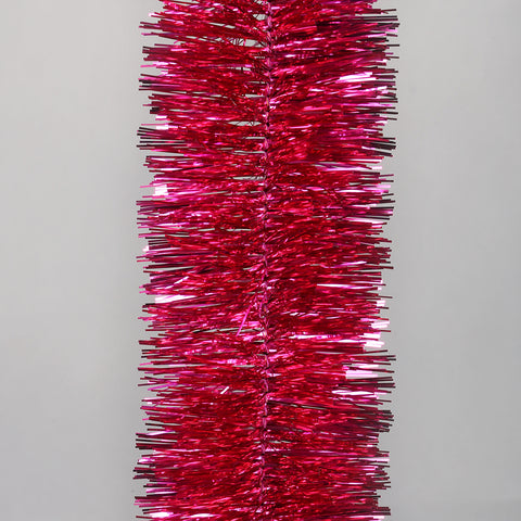 Cerise Pink Deluxe Tinsel Garland - 100mm x 5.5m