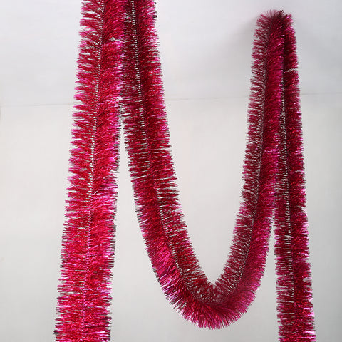 cerise 4 ply tinsel 150mm x 10m