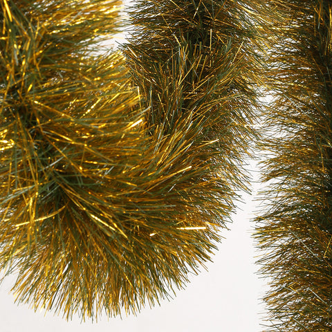 Dark PVC Green and Metallic Gold Tinsel Garland - 150mm x 5.5m