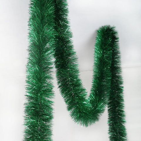 Christmas Tinsel Garland.Green 6 Ply Tinsel Garland 100mm X 10m