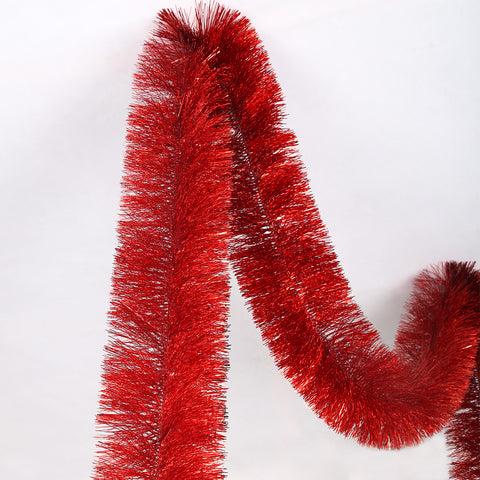 red 4 ply tinsel 150mm x 5.5m