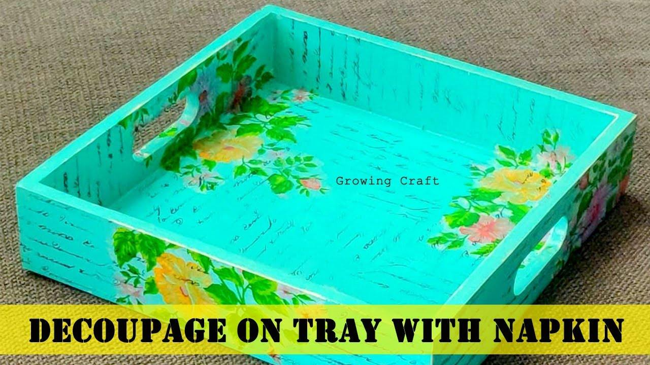 Decoupage tray with napkin
