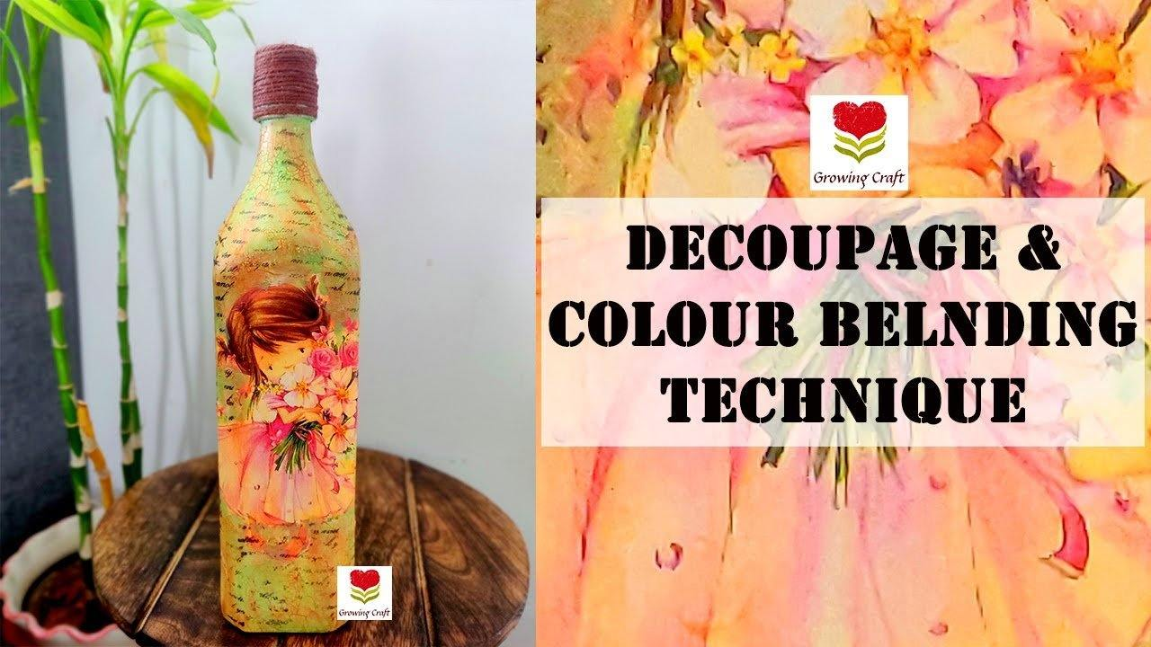 Decoupage bottle with colour blending technique