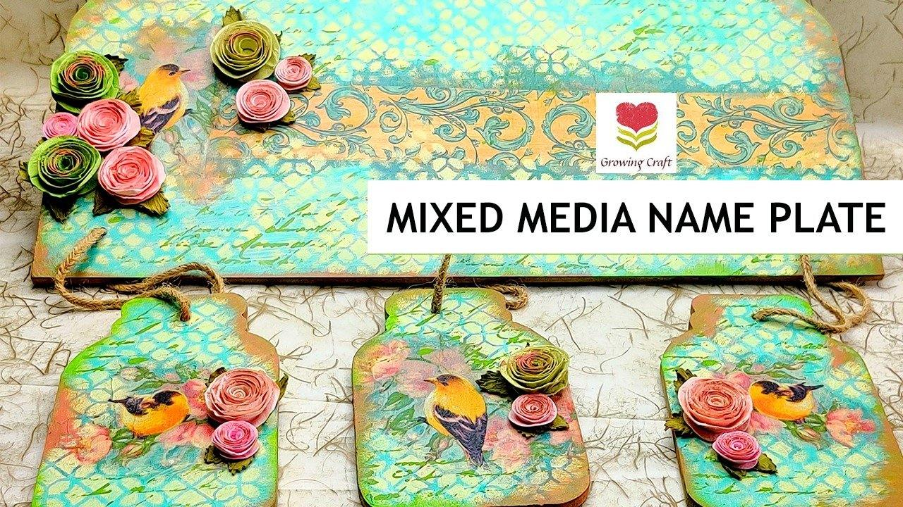 MIXED MEDIA NAME PLATE