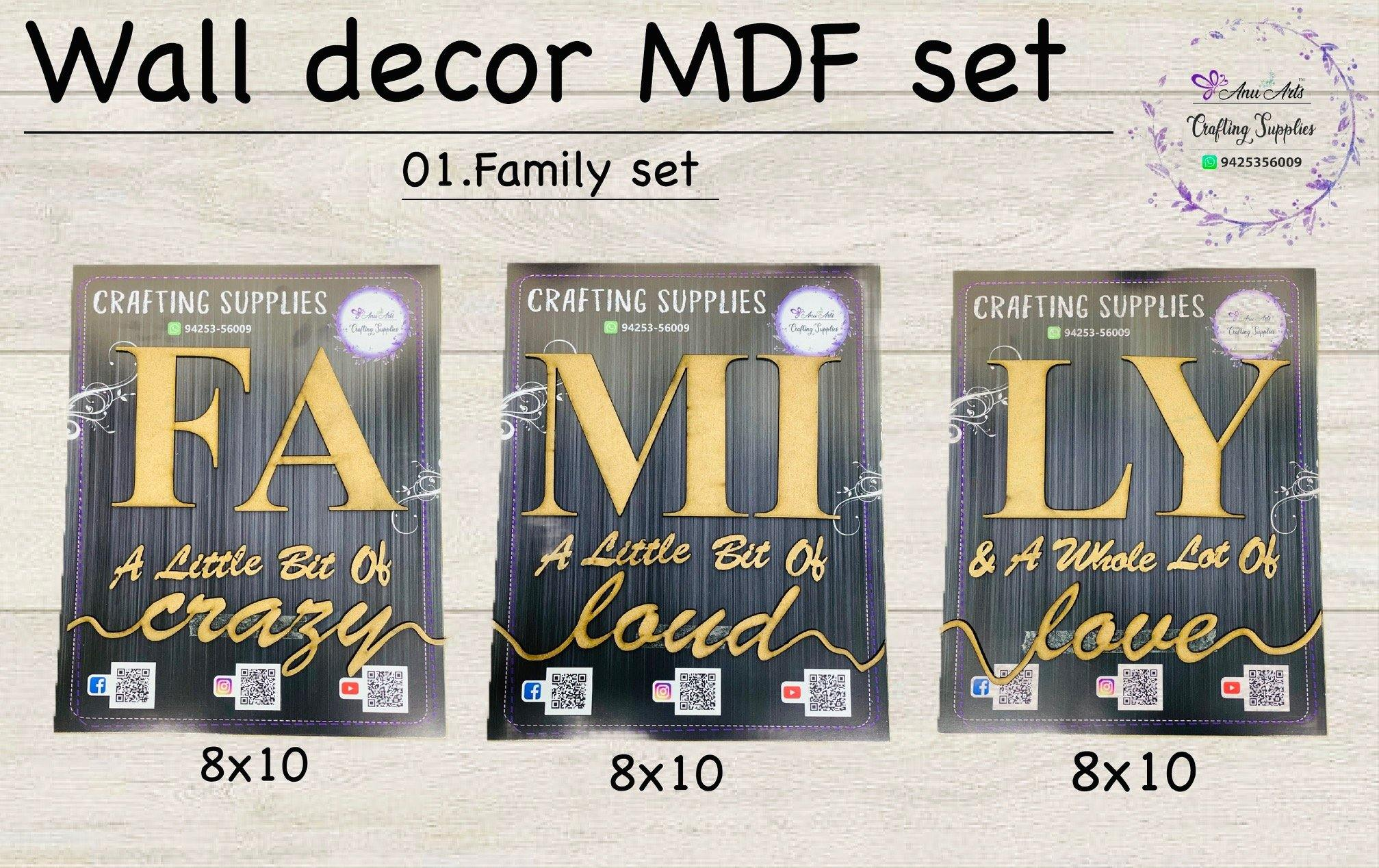 Wall decor MDF set (family set)