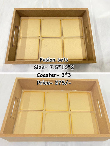 Fusion trays with detachable coasters(design no 1)
