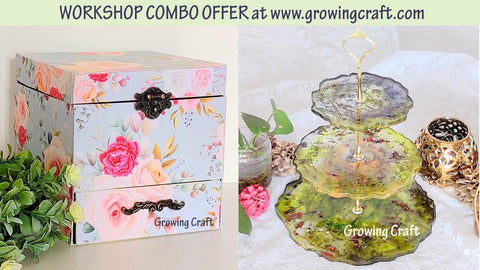 Workshop Combo - Scrapbook Box with drawer & 3 tier resin with Alcohol ink cake stand